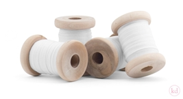 Wooden Spool Cotton Ribbon White