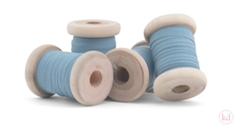 Wooden Spool Cotton Ribbon Sea Blue