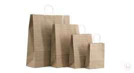 Paperbag twisted handle Grid Kraft / White