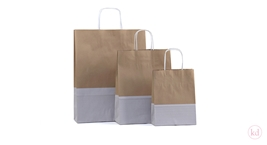 Paperbag twisted handle dipdye kraft Brown + White