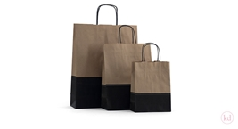 Paperbag twisted handle dipdye kraft brown / black