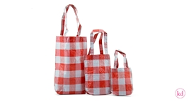 PP shopper big square red / white