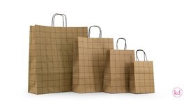 Paperbag twisted handle grid kraft / black