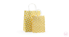 Paperbag twisted handle Piramide Yellow