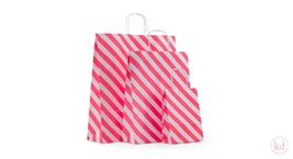 Paperbag twisted handle Diagonal Stripe Neon Orange
