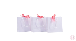 Paperbag White + Neon Orange Ribbon