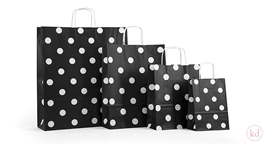 Paperbag twisted handle polka dots Black