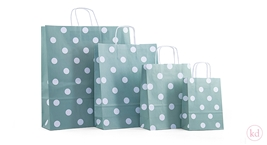 Paperbag twisted handle polka dots mint