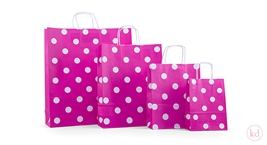 Paperbag twisted handle polka dots pink