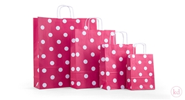 Paperbag twisted handle polka dots red