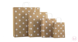 Paperbag twisted handlepolka dots kraft