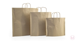 Flat paperbag twisted handle brown kraft