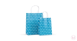 Paperbag twisted handle Little Dots Aqua
