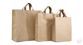 PP Papershopper with brown leather look handle
