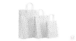Paperbag twisted handle handdrawn dots white + black