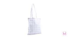 Cotton Bag White Grid