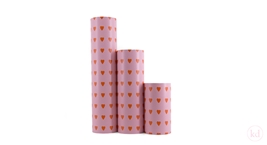 Wrappingpaper Love Heart Baby Pink / Orange