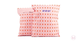 Verzendzakken Love Heart Baby Pink / Red Large