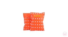 Verzendzakken Love Heart Orange / Baby Pink Small