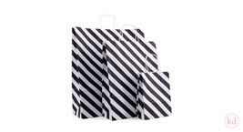 Paperbag twisted handle Diagonal Stripe Black