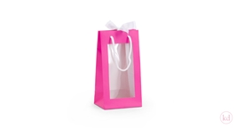 Windowbag tall met sluitlint Hot Pink
