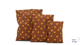 Shipping bags Handdrawn Hearts Choco Brown
