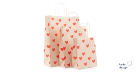 Twisted Handles Paperbag Handdrawn Hearts Lemonade pink